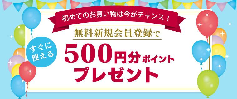 新規会員登録で500円分ポイントプレゼント!